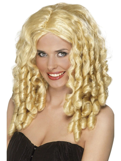 """26"""" Gold Film Star Long Spiral Curls Women Adult Halloween Wig Costume Accessory - One Size - IMAGE 1"""