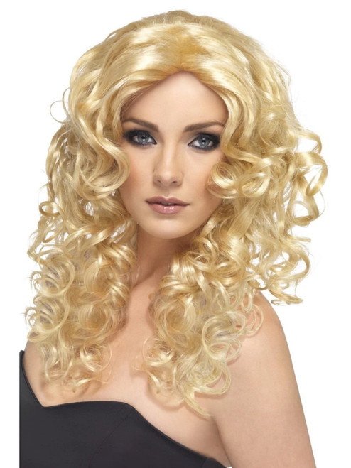"26"" Blonde Beige Glamour Shiny Long Curly and Wavy Women Adult Halloween Wig Costume Accessory - One Size - IMAGE 1"
