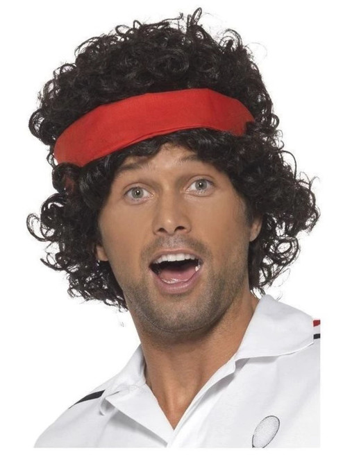 """26"""" Brown and Red 1980 Style Tennis Player Men Adult Halloween Wig Costume Accessory - One Size - IMAGE 1"""