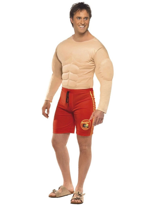 """49"""" Red and Yellow Baywatch Lifeguard Men Adult Halloween Costume - Large - IMAGE 1"""