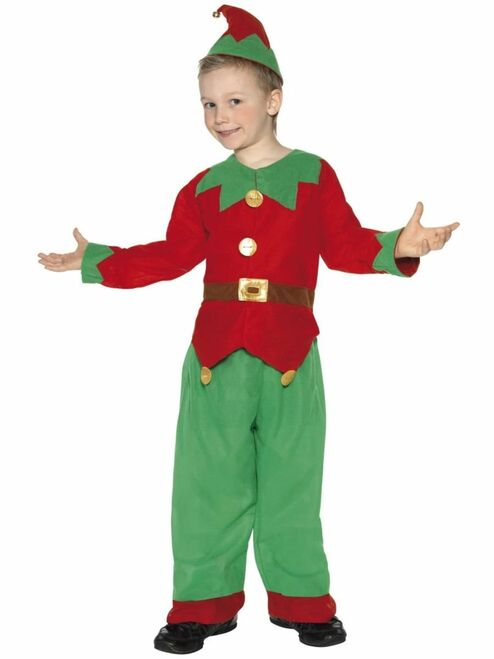 """49"""" Red and Green Elf Unisex Child Christmas Costume - Small - IMAGE 1"""