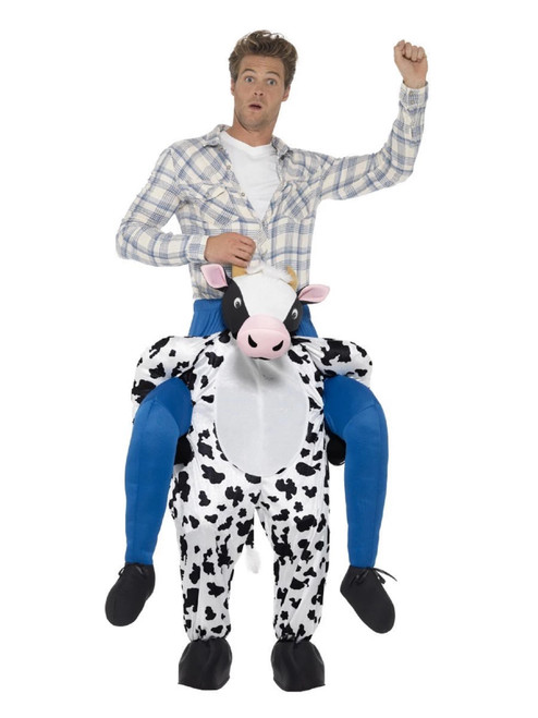 """45"""" Black and Blue Piggyback Cow Funny Checkered Men Adult Halloween Costume - IMAGE 1"""