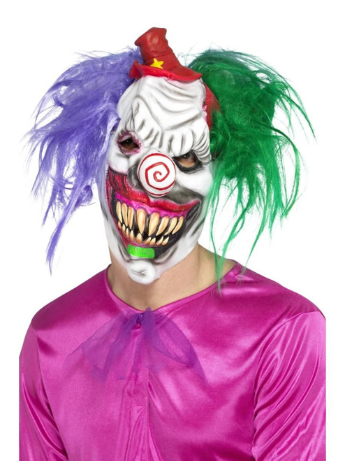 """40"""" White and Red Kolorful Killer Klown Men Adult Halloween Mask - One Size - IMAGE 1"""