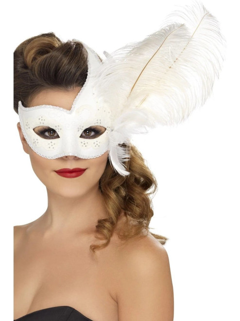 "40"" White Ornate Columbia Women Halloween Eyemask Costume Accessory - One Size - IMAGE 1"