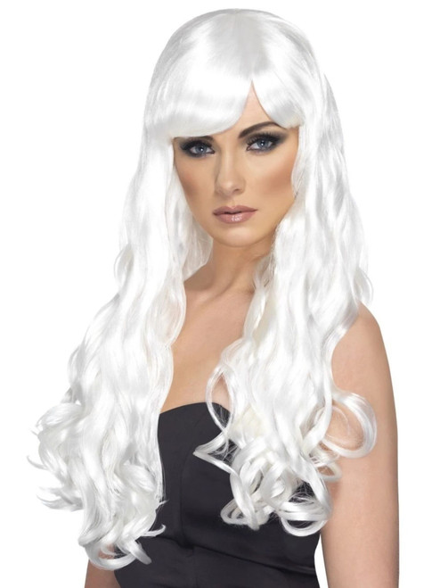 """26"""" White Desire Long Curly Gothic Style Women Adult Halloween Wig Costume Accessory - One Size - IMAGE 1"""