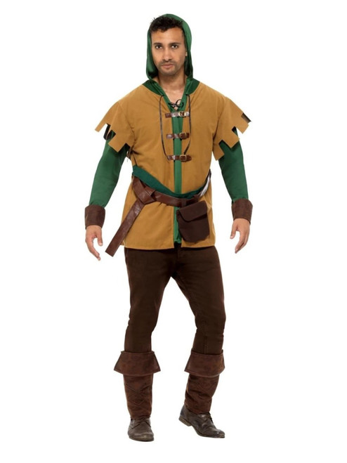 """48"""" Green and Brown Robin of The Hood Men Adult Halloween Costume - Large - IMAGE 1"""