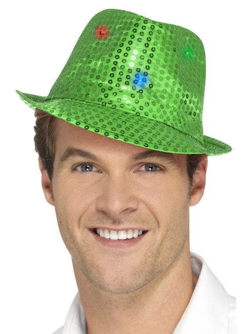 """33"""" Green Sequin Trilby Unisex Adult Halloween Hat Costume Accessory - One Size - IMAGE 1"""