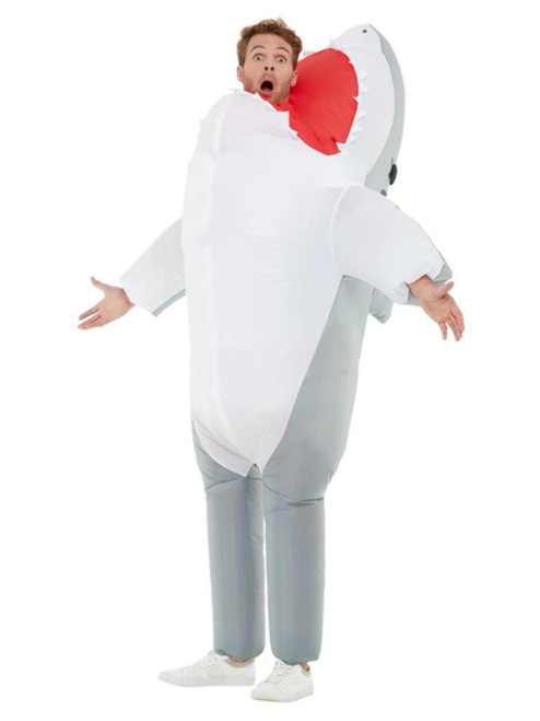 "40"" Gray Inflatable Shark Attack Unisex Adult Halloween Costume - One Size - IMAGE 1"