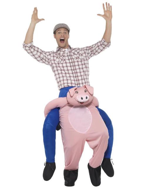 Pink Piggyback Pig Men Adult Halloween Costume with Mock Legs - IMAGE 1