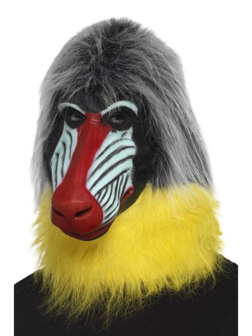 Gray and Yellow Baboon Unisex Adult Halloween Mask - One Size - IMAGE 1
