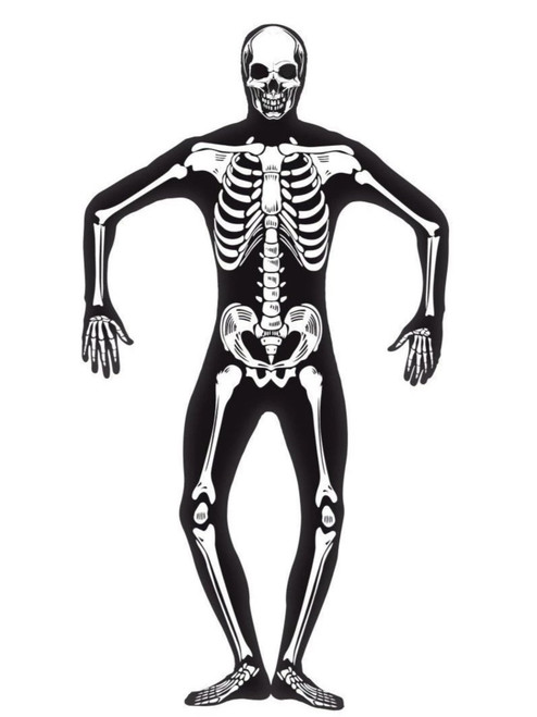 "49"" Black and White Skeleton Second Skin Men Adult Halloween Costume - Large - IMAGE 1"