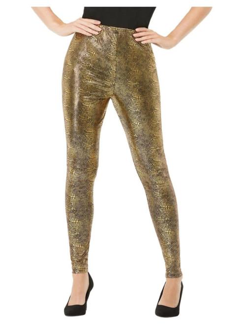 "30"" Gold Dragon Scale Leggings Women Adult Halloween Costume - Medium - IMAGE 1"