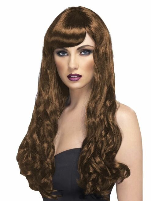 """26"""" Brown Desire Long Curly Gothic Style Women Adult Halloween Wig Costume Accessory - One Size - IMAGE 1"""