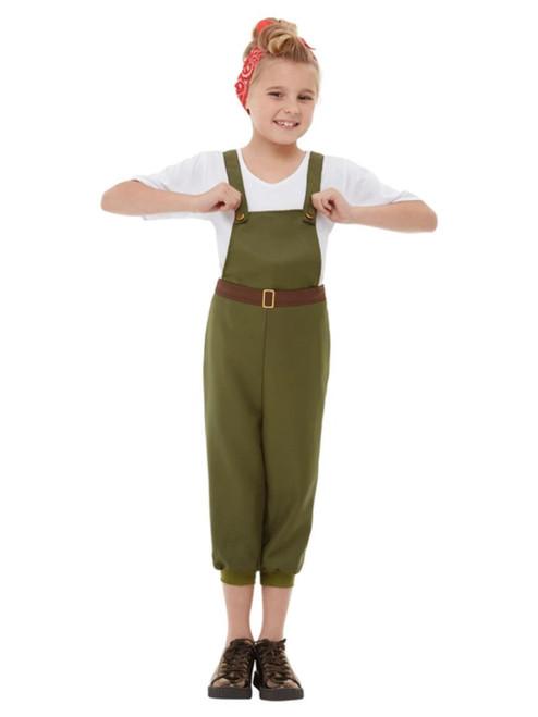 "49"" Green and White WW2 Little Land Girl Child Halloween Costume - Medium - IMAGE 1"