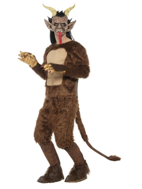 "41"" Brown and Ivory Krampus Beast Demon Men Adult Halloween Costume - Large - IMAGE 1"