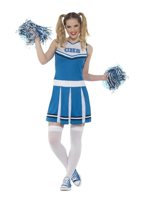 """42"""" White and Blue Cheerleader Women Adult Halloween Costume - Large - IMAGE 1"""