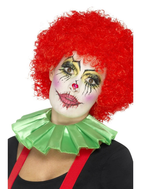 """24"""" Green Clown Unisex Adult Halloween Neck Ruffle Costume Accessory - One Size - IMAGE 1"""