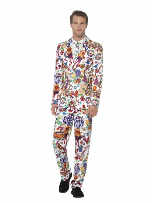 White and Orange Groovy Suit Men Adult Halloween Costume - Medium - IMAGE 1