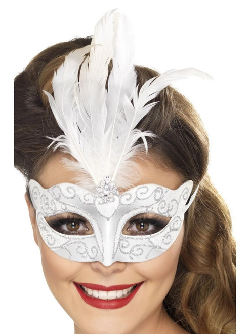 "18"" White and Silver Venetian Glitter Women Halloween Eyemask Costume Accessory - One Size - IMAGE 1"