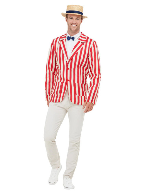 "49"" Red and White 1920's Style Barber Shop Men Adult Halloween Costume - Large - IMAGE 1"