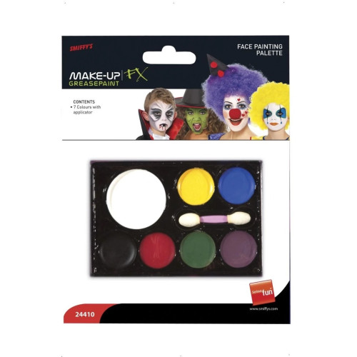 Red and Black Assorted Face Painting Palette with Applicator Halloween Costume Accessory - IMAGE 1