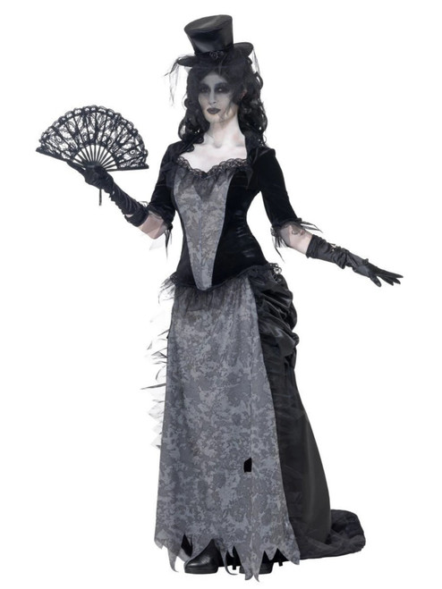 """49"""" Black and Gray Ghost Town Widow Women Adult Halloween Costume - Small - IMAGE 1"""