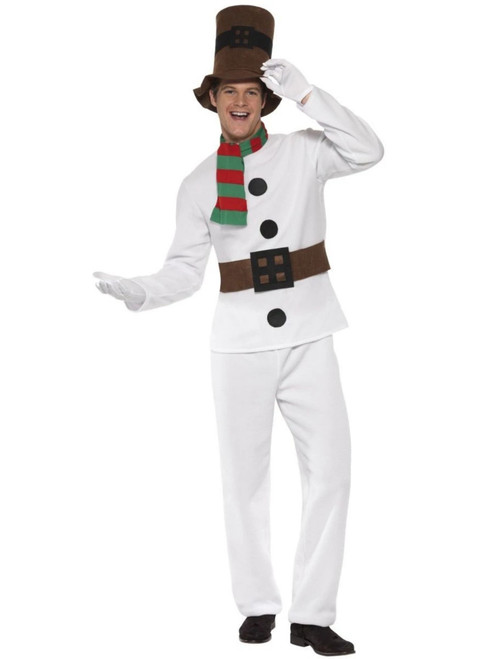 "49"" White and Brown Mr Snowman Men Adult Christmas Costume - XL - IMAGE 1"