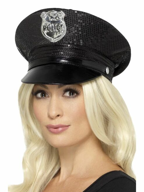 """25"""" Black Fever Sequin Police Unisex Adult Halloween Hat Costume Accessory - One Size - IMAGE 1"""
