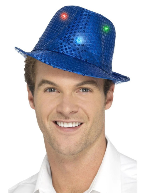 """33"""" Blue Sequin Trilby Unisex Adult Halloween Hat Costume Accessory - One Size - IMAGE 1"""