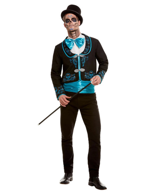 Black and Blue Day of the Dead Men Adult Halloween Costume - Large - IMAGE 1