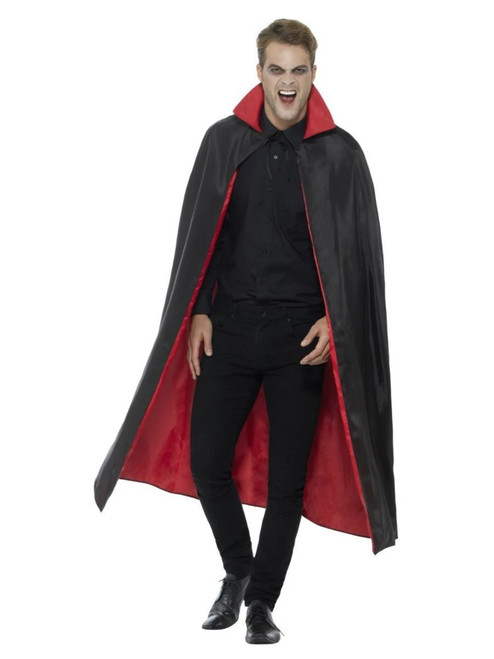 """40"""" Black and Red Unisex Adult Halloween Reversible Vampire Costume Accessory - One Size - IMAGE 1"""