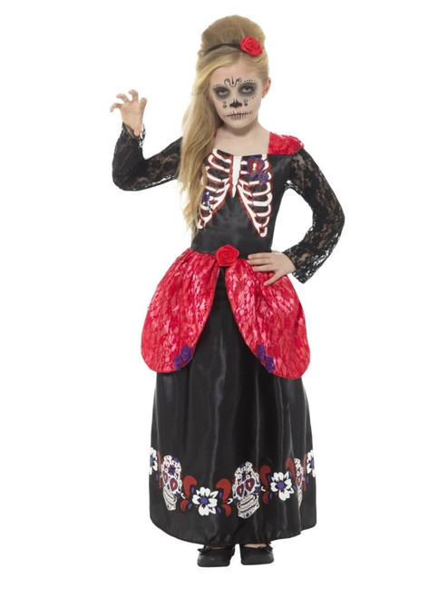 """48"""" Black and Red Deluxe Day of the Dead Girl Child Halloween Costume - Large - IMAGE 1"""