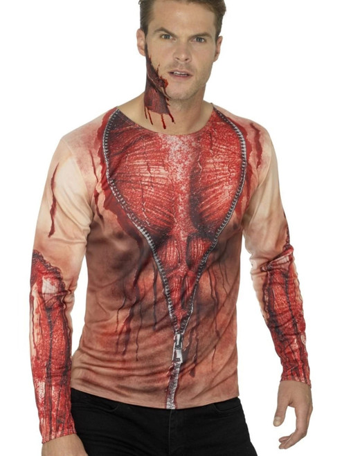 "49"" Red and Brown Ripped Skin T-Shirt Men Adult Halloween Costume - Medium - IMAGE 1"