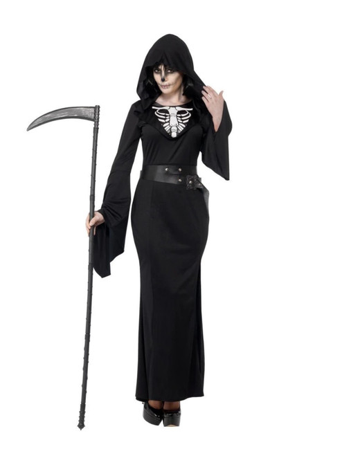 """49"""" Black and White Lady Reaper Women Adult Halloween Costume - X3 - IMAGE 1"""