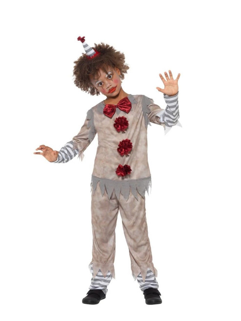 "49"" Gray and Red Vintage Clown Boy Child Halloween Costume - Large - IMAGE 1"