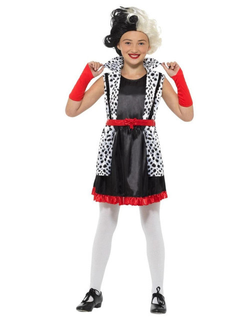 """49"""" Black and White Evil Little Madame Girl Child Halloween Costume - Large - IMAGE 1"""