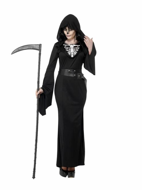 """49"""" Black and White Lady Reaper Women Adult Halloween Costume - X1 - IMAGE 1"""