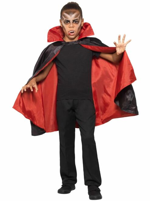 """39"""" Black and Red Reversible Unisex Child Halloween Vampire Cape Costume Accessory - One Size - IMAGE 1"""