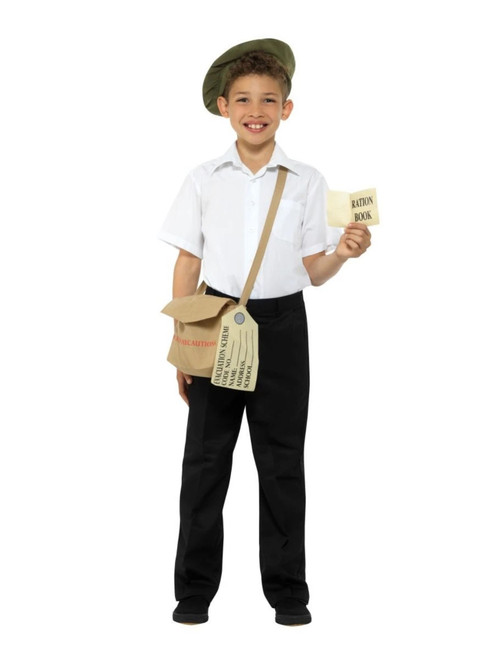 Brown and Red Evacuee Unisex Child Halloween Instant Kit with Hat and Bag Costume Accessory - IMAGE 1