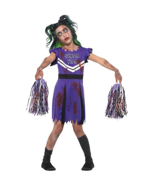 """42"""" Purple and Black Dark Cheerleader Girl Child Halloween Costume - Small - IMAGE 1"""