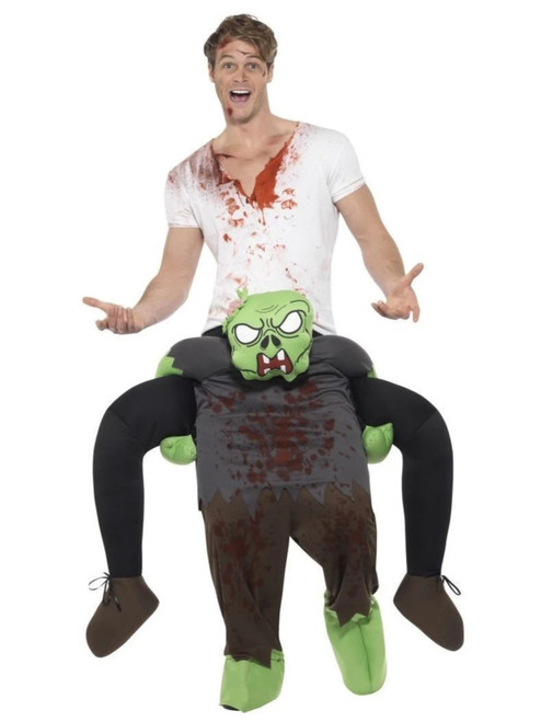 Green and Gray Piggyback Zombie Men Adult Halloween Costume - One Size - IMAGE 1