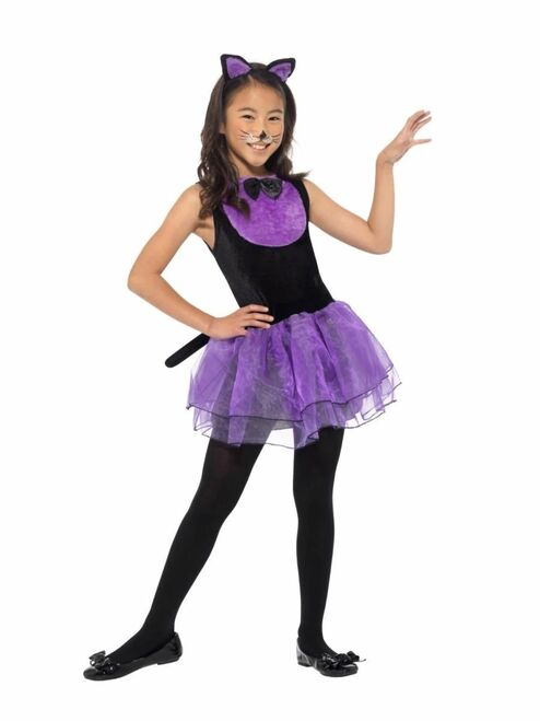 "42"" Black and Purple Cat Girl Child Halloween Costume - Medium - IMAGE 1"