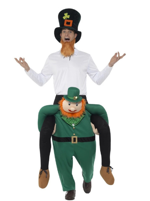 Green Piggyback Paddy's Leprechaun Men Adult Christmas Costume - One Size - IMAGE 1