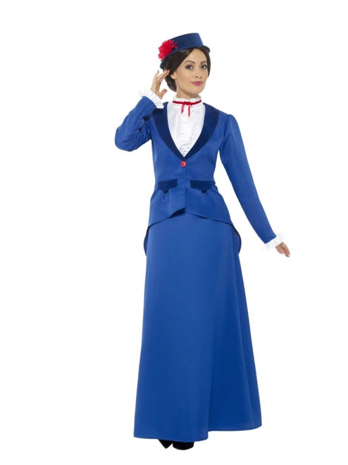 "41"" Blue and White Victorian Nanny Women Adult Halloween Costume - Small - IMAGE 1"