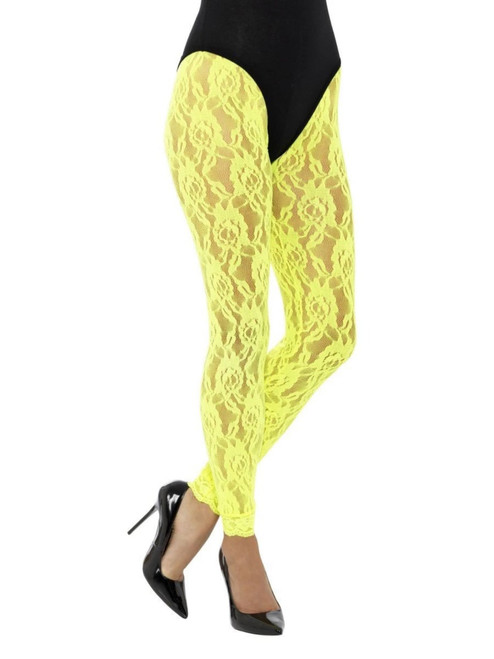 """20"""" Neon Yellow 1980's Style Women Adult Halloween Lace Leggings Costume Accessory - One Size - IMAGE 1"""