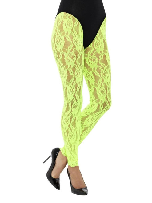 """20"""" Neon Green 1980's Style Women Adult Halloween Lace Leggings Costume Accessory - One Size - IMAGE 1"""