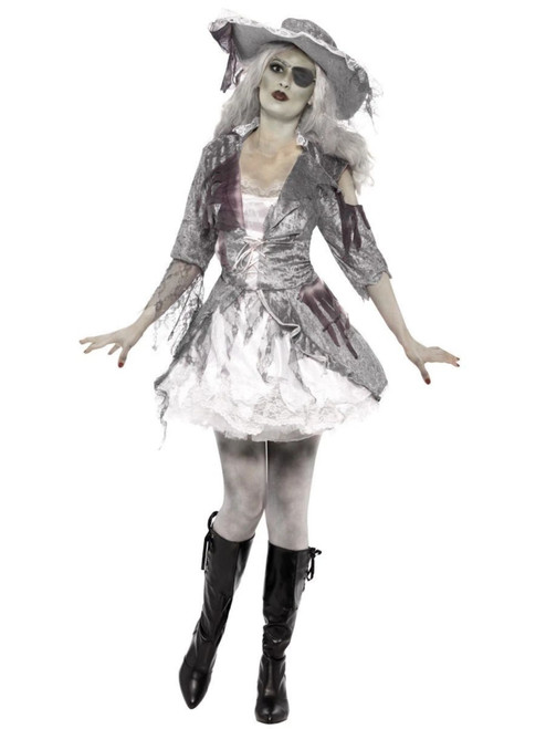 """49"""" White and Gray Ghost Ship Pirate Women Adult Halloween Costume - Large - IMAGE 1"""