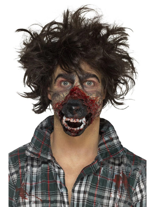 """29"""" Brown and Black Werewolf Mouth Prosthetic Men Adult Halloween Makeup FX Costume Accessory - IMAGE 1"""