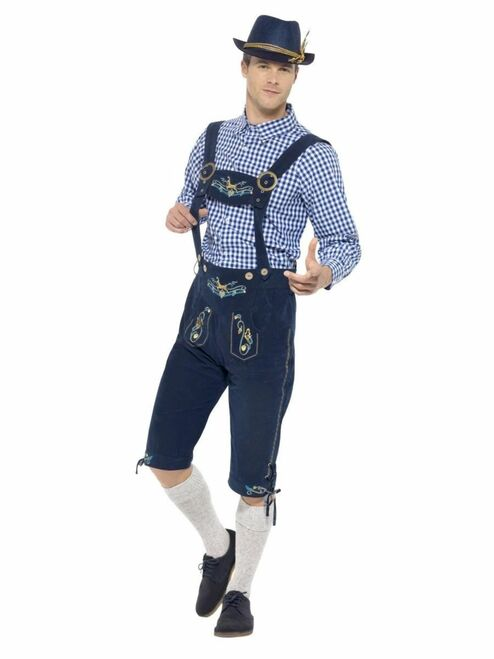 "40"" Blue and Brown Traditional Rutger Bavarian Men Adult Halloween Costume - Medium - IMAGE 1"