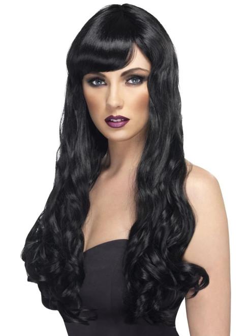 """26"""" Black Desire Long Curly Gothic Style Women Adult Halloween Wig Costume Accessory - One Size - IMAGE 1"""